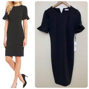 Calvin Klein Petal Sleeve Sheath Dress Black $90
